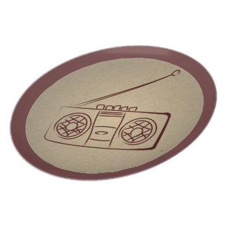 Vintage Retro Audio Cassette Player. Antique Paper Plate