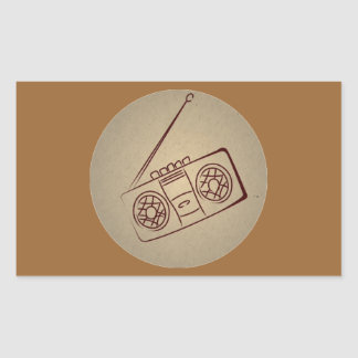 Vintage Retro Audio Cassette Player. Antique Paper Rectangular Stickers