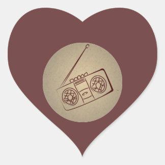 Vintage Retro Audio Cassette Player. Antique Paper Heart Stickers