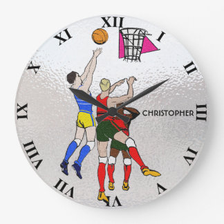 Vintage Retro Basketball Players Old Comics Style Large Clock