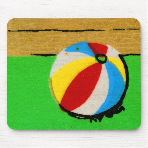Vintage Retro Beach Ball Kids Art Illustration Mouse Pad