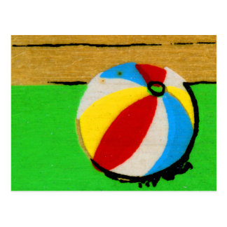 Vintage Retro Beach Ball Kids Art Illustration Postcard