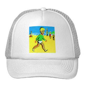 Vintage Retro Beach Boy Illustration Cap