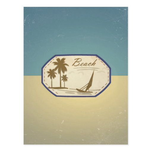 Vintage Retro Beach Palm Tree Boat Blue Sepia Tone Post Cards