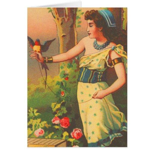 Vintage Retro Beautiful Woman with Bird Trade Card