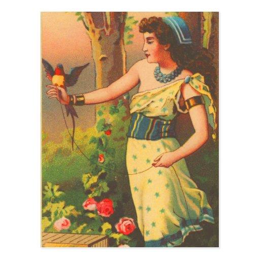 Vintage Retro Beautiful Woman with Bird Trade Card Postcard