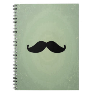 Vintage Retro Black Moustache On Shabby Mint Green Notebooks