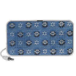 Vintage Retro Blue Floral Pattern PC Speakers