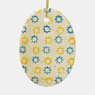 Vintage Retro Blue & Yellow Sun Stencil Texture Christmas Ornament