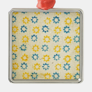 Vintage Retro Blue & Yellow Sun Stencil Texture Christmas Ornament