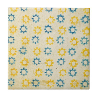 Vintage Retro Blue & Yellow Sun Stencil Texture Small Square Tile