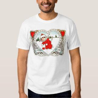 Vintage Retro Boy Finds Heart In Snow Valentine Shirt