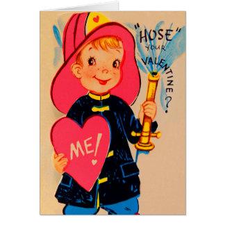 Vintage Retro Boy Fireman Valentine Card