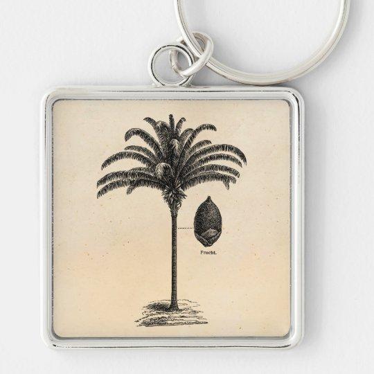 Vintage Retro Brazilian Palm Tree Template Palms Silver-Colored Square Key Ring