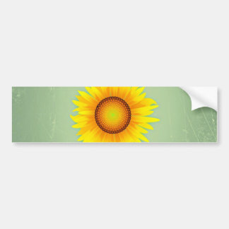 Vintage Retro Bright Yellow Sunflower / Mint Green Car Bumper Sticker