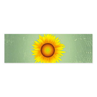 Vintage Retro Bright Yellow Sunflower / Mint Green Business Cards