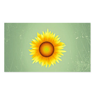 Vintage Retro Bright Yellow Sunflower / Mint Green Business Card Template