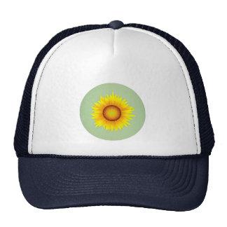Vintage Retro Bright Yellow Sunflower / Mint Green Mesh Hats
