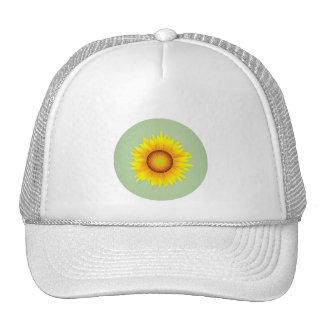 Vintage Retro Bright Yellow Sunflower / Mint Green Hat
