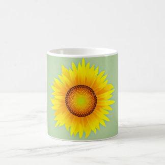 Vintage Retro Bright Yellow Sunflower / Mint Green Coffee Mugs