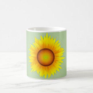 Vintage Retro Bright Yellow Sunflower / Mint Green Mug