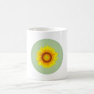 Vintage Retro Bright Yellow Sunflower / Mint Green Coffee Mug