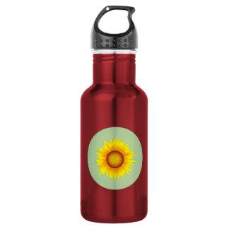 Vintage Retro Bright Yellow Sunflower / Mint Green 532 Ml Water Bottle