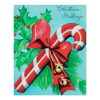 Vintage retro candy cane Christmas poster