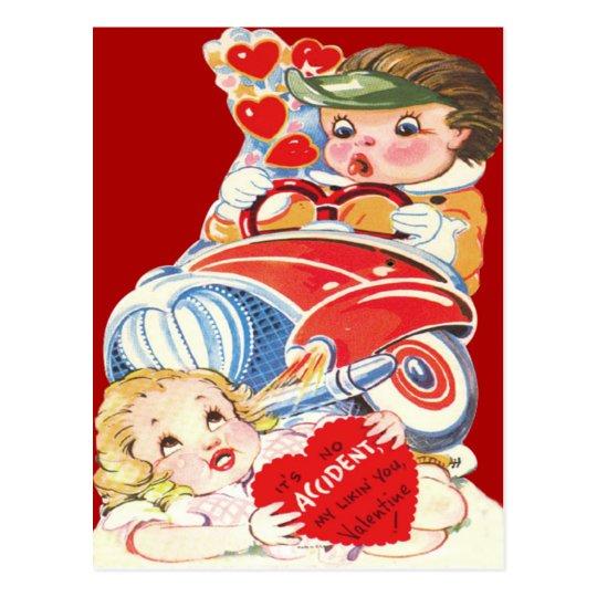 Vintage Retro Car Accident Valentine Card