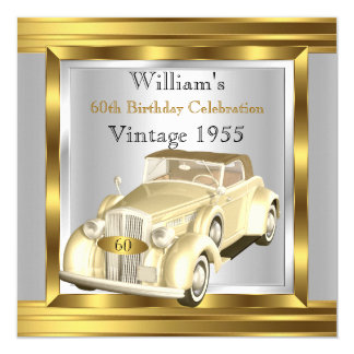 Vintage Retro Car Gatsby Deco Gold Cream Silver 13 Cm X 13 Cm Square Invitation Card