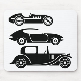 Vintage retro car racing coupe and limo mouse mat