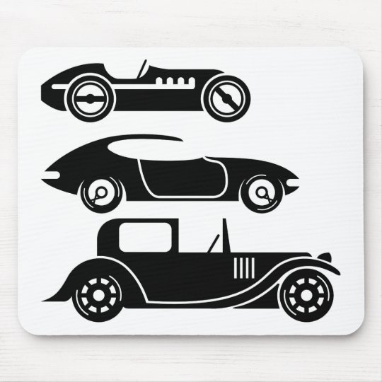 Vintage retro car racing coupe and limo mouse