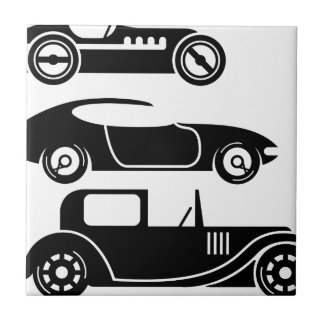 Vintage retro car racing coupe and limo small square tile