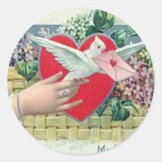 Vintage Retro Carrier Pigeon With Valentine Card Round Sticker