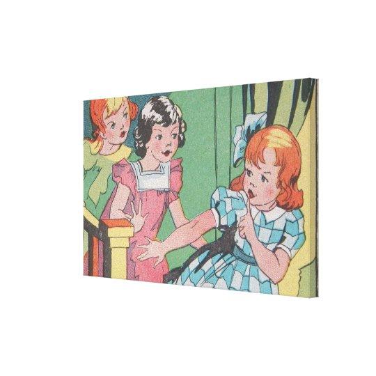 Vintage Retro Cartoon Art of Little Girls Canvas