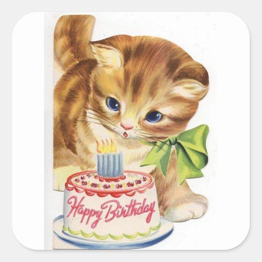 Sensational Vintage Retro Cat Kitten Birthday Cake Greeting Square Sticker Funny Birthday Cards Online Overcheapnameinfo