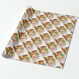 Vintage Retro Cat Kitten Birthday Cake Greeting Wrapping Paper