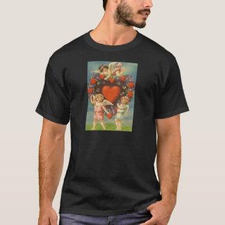 Vintage Retro Cherubs Carrying Heart Valentine Car T-Shirt