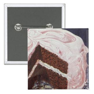 Vintage Retro Chocolate Cake Pink Icing 15 Cm Square Badge