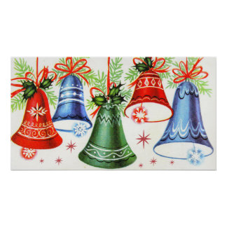 Vintage retro Christmas bells Holiday poster