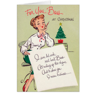 Vintage retro Christmas boss add text card