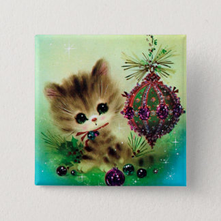 Vintage retro Christmas cat Holiday button
