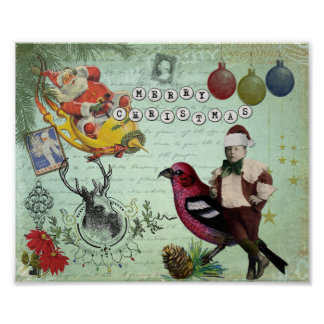 Vintage Retro Christmas Collage Poster
