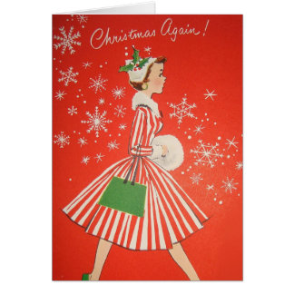 Vintage Retro Christmas Greeting Card