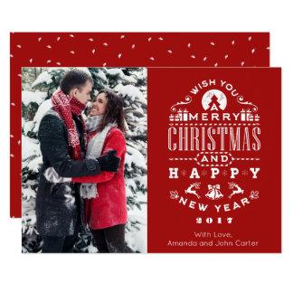 Vintage RETRO Christmas Greetings Vertical Photo Card