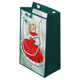 Vintage retro Christmas lady party bag