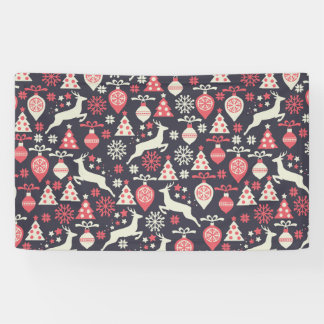 Vintage Retro Christmas Pattern Holiday Banner