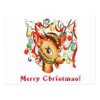 Vintage Retro Christmas Reindeer Confetti Postcard