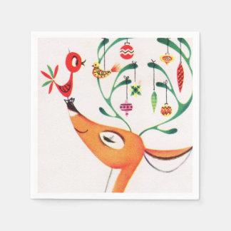Vintage retro Christmas reindeer party napkins Paper Serviettes
