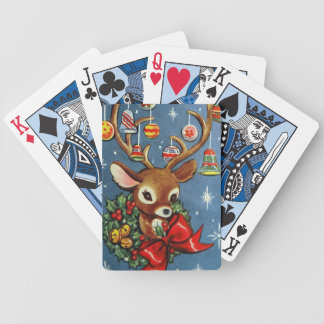 Vintage retro Christmas reindeer playing cards